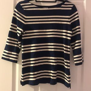 blue and white striped 3/4 sweater